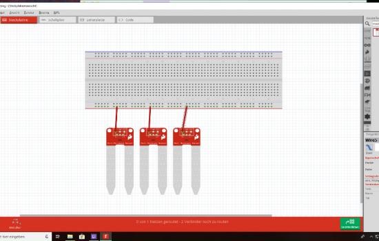 1. Ein Kabel wird von dem Anschuss VCC+ des Sensors, auf die rote Pluslinie am Rand des Steckbretts gesteckt.